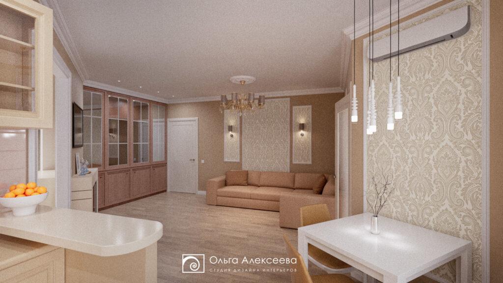 Двухкомнатная квартира с кухней гостиной